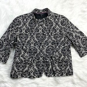 Talbots Womens Damask Print Blazer Jacket